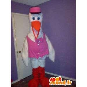 Stork maskot i lyserød vest, forklædning til fødslen -