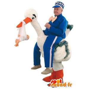 Character holding a stork...