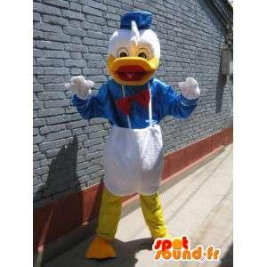 Mascotte Canard - Donald Duck - Costume bleu, blanc jaune