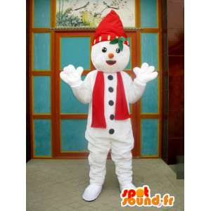 Mascot pixie rode en witte sneeuw met hoed en sjaal