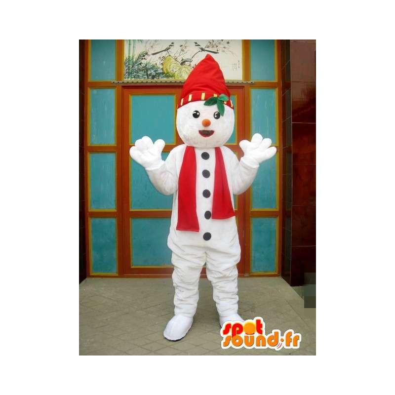 Maskot skřítek červený a bílý sníh s kloboukem a šátek - MASFR00199 - Vánoční Maskoti