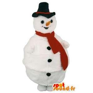 Mascotte bonhomme de neige avec chapeau noir et son écharpe