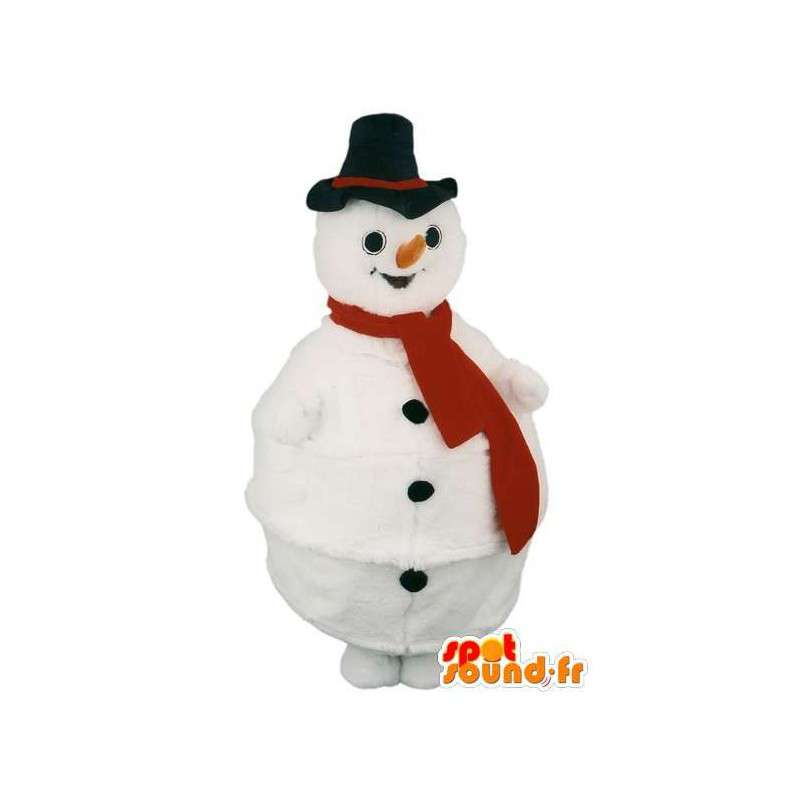 Mascot snowman with black hat and scarf