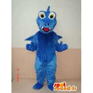Blå dinosaurmaskot - djurmaskot med vingar - snabb frakt -