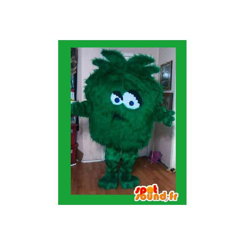 Grøn monster maskot - alt hårgrønt kostume - Spotsound maskot