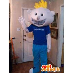 Mascot vaalea koulupoika pukeutunut sininen - Disguise koulupoika - MASFR002594 - Maskotteja Boys and Girls
