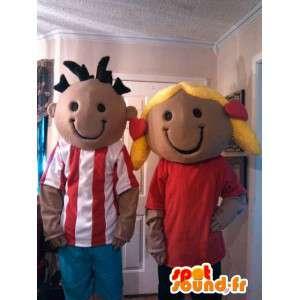 Maskottchen-Paar Schüler - Costume Pack 2 Kinder - MASFR002595 - Maskottchen-Kind