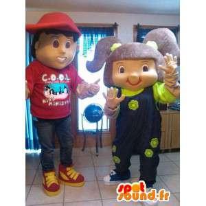 子供たちのマスコットカップル-2の男子生徒のコスチュームパック-MASFR002596-子供マスコット
