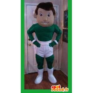 白いショートパンツの緑のスーパーヒーローのマスコット-スーパーヒーローの衣装-MASFR002597-スーパーヒーローのマスコット