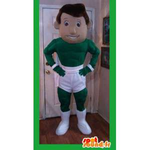 Super helten Grønn Mascot hvit shorts - Super Hero Costume - MASFR002597 - superhelt maskot