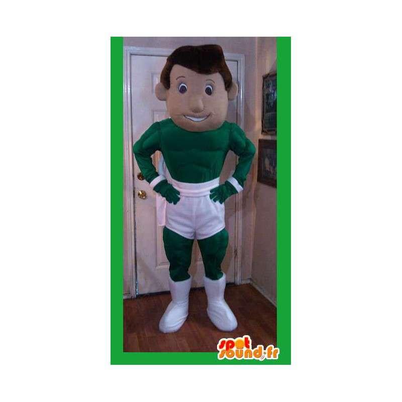 Grön superhjälte maskot i vita shorts - Superhjältdräkt -