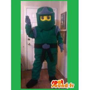Vihreä ja keltainen maskotti Ninja - Ninja puku, taistelulajien - MASFR002598 - Mascottes Homme