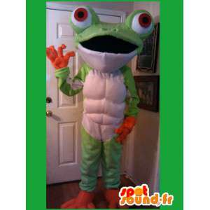 Green and orange mascot frog with big eyes  - MASFR002601 - Mascots frog