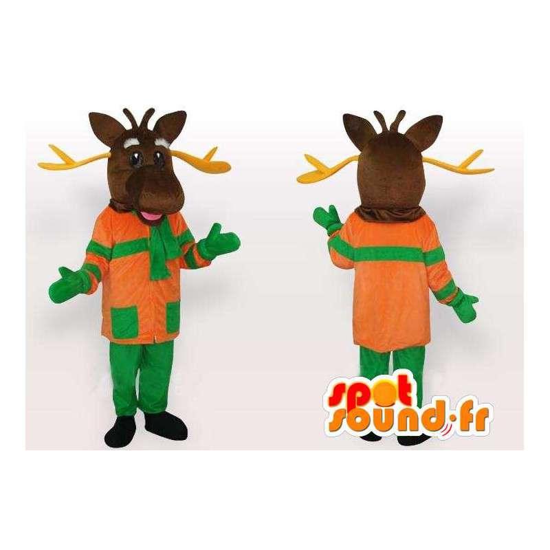 Μασκότ Ελάφια πορτοκαλί και πράσινο - Δάσος κοστούμι των ζώων - MASFR00218 - Stag και Doe Μασκότ