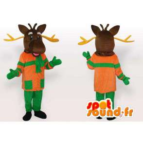 Mascotte Cerf Orange et Vert - Costume animal des forêts - MASFR00218 - Mascottes Cerf et Biche