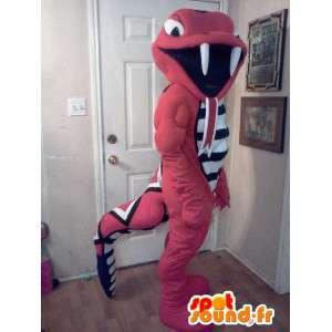 Maskotti oranssi käärme Rattle - käärme puku