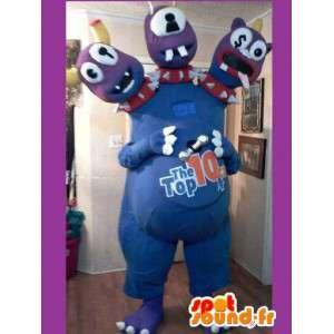 3 blaue Monster Maskottchen Köpfe - Blaue Monster-Kostüm - MASFR002617 - Monster-Maskottchen