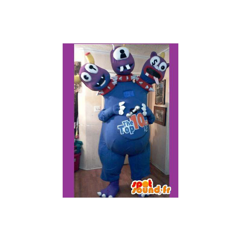 Monster maskot 3 blå huvuden - Blå monster kostym - Spotsound