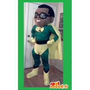 緑と黄色のスーパーヒーローのマスコット-スーパーヒーローの衣装-MASFR002618-スーパーヒーローのマスコット