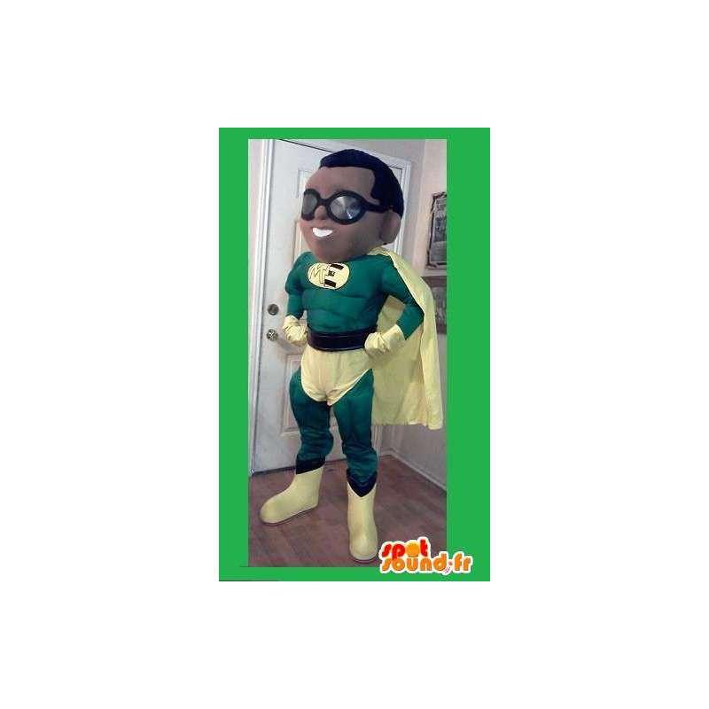 Super maskotti vihreä ja keltainen sankari - supersankari puku - MASFR002618 - supersankari maskotti