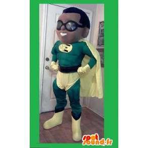 Grøn og gul superhelt maskot - Superhelt kostume - Spotsound