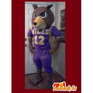 Bear Mascot ilkeä jalkapalloilija - karhun puku - MASFR002620 - Bear Mascot
