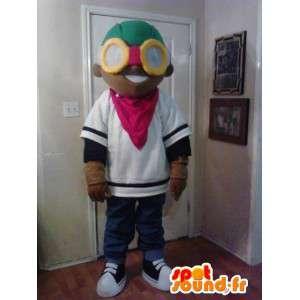 眼鏡をかけた黒い十代のマスコット-10代の衣装-MASFR002626-男の子と女の子のマスコット