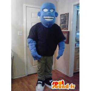青い漫画のモンスターのマスコット-青いキャラクターの変装-MASFR002630-モンスターのマスコット