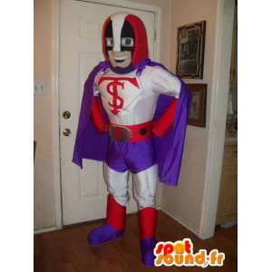 Lila, röd och vit brottmaskot - hjältdräkt - Spotsound maskot
