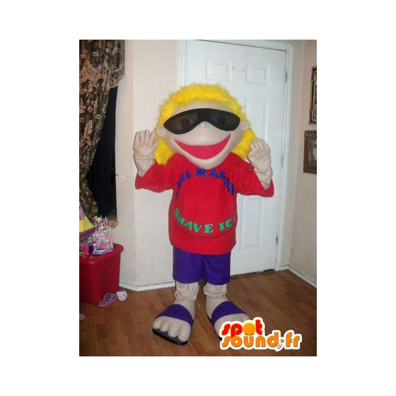 Mascot blonde girl in flip flops with sunglasses - MASFR002634 - Mascots boys and girls