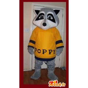 Mascotte raton laveur gris en pull jaune - Costume raton laveur
