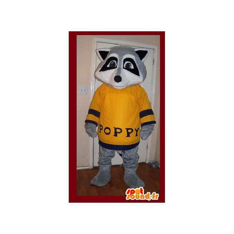 Raccoon mascot yellow gray sweater - Costume raccoon - MASFR002645 - Mascots of pups
