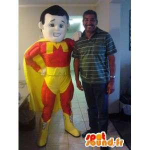 赤と黄色のスーパーヒーローのマスコット-スーパーヒーローの衣装-MASFR002649-スーパーヒーローのマスコット