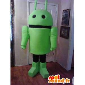 緑のAndroidロボットマスコット-緑のロボットコスチューム-MASFR002650-ロボットマスコット