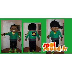 Mascot hip-hop green and yellow - Disguise boy hip-hop - MASFR002666 - Mascots boys and girls
