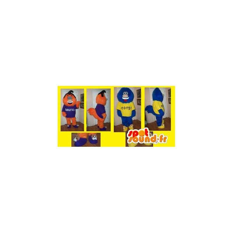 Maskoter med orange och blåhåriga monster - 2 kostymer -