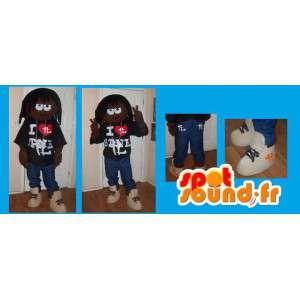 Mascot Krayzie Bone - Disguise Rapper mit Dreads - MASFR002670 - Menschliche Maskottchen