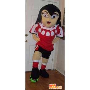 Mascot footballer in red shirt - women's football costume - MASFR002671 - Sports mascot