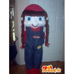 Mascot meisje in blauwe overalls met vlechten