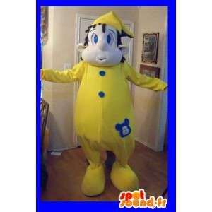 Pyjama sneeuwpop mascotte - pyjama kostuum