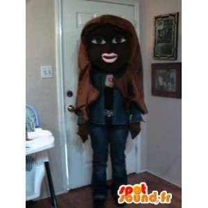 Preto menina mascote denim - traje preto Menina
