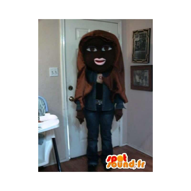 Czarna dziewczyna maskotka denim - Girl kostium czarny - MASFR002686 - Maskotki Boys and Girls