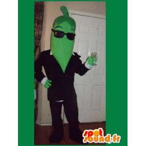 Vihreä papu maskotti hänen aurinkolasit