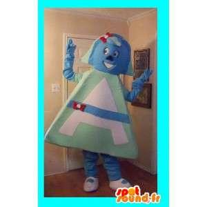 Mascot groene en blauwe brief A - alfabet Disguise, letter A - MASFR002688 - Niet-ingedeelde Mascottes