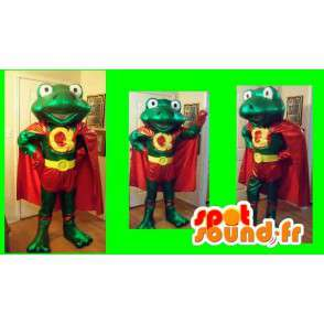 Super green frog mascot and his red coat and yellow - MASFR002691 - Mascots frog