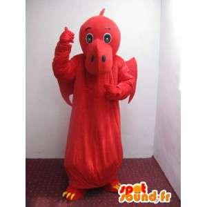Dinossauro mascote vermelha e amarela - Traje Dragão  - MASFR00222 - Dragão mascote