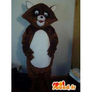 Raccoon maskotka brązowy i biały płuczka - szop kostium płuczka