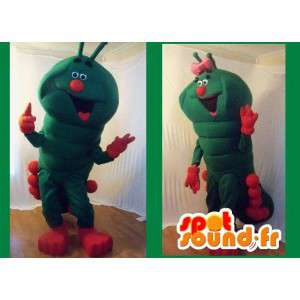 Mascot green and red giant caterpillar - caterpillar costume - MASFR002703 - Mascots insect