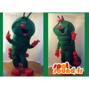 Mascot verde e vermelho lagarta gigante - traje lagarta - MASFR002703 - mascotes Insect
