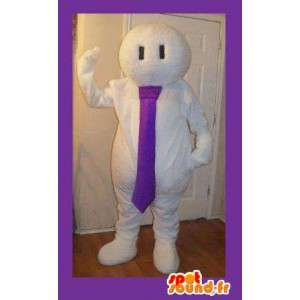 Mascot white man with tie - all white costume